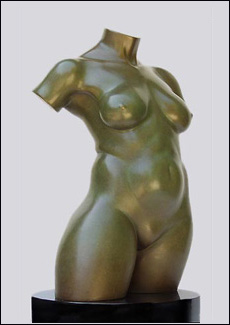 Awaken - Nude Torso - Bronze Sculpture of Woman, by Eleanor Seeley